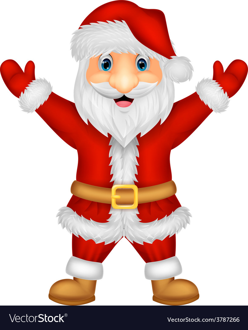 Santa cartoon waving vector | Price: 1 Credit (USD $1)