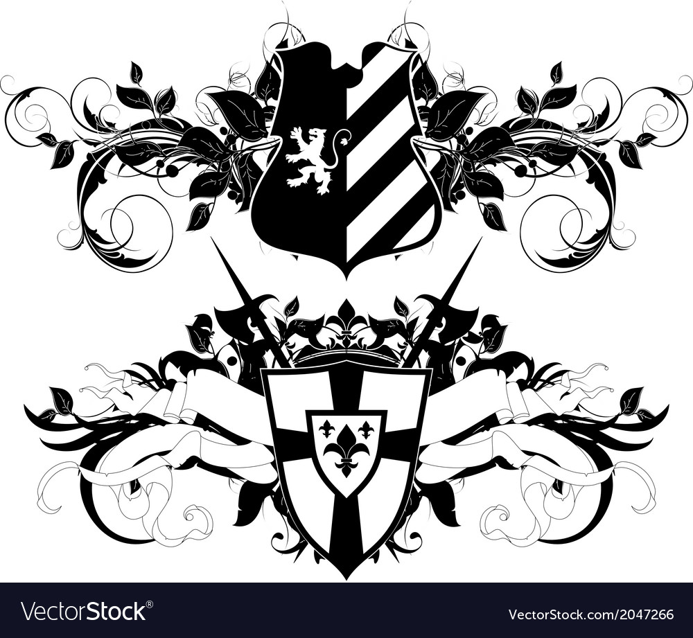 Set of ornamental heraldic shields vector | Price: 1 Credit (USD $1)
