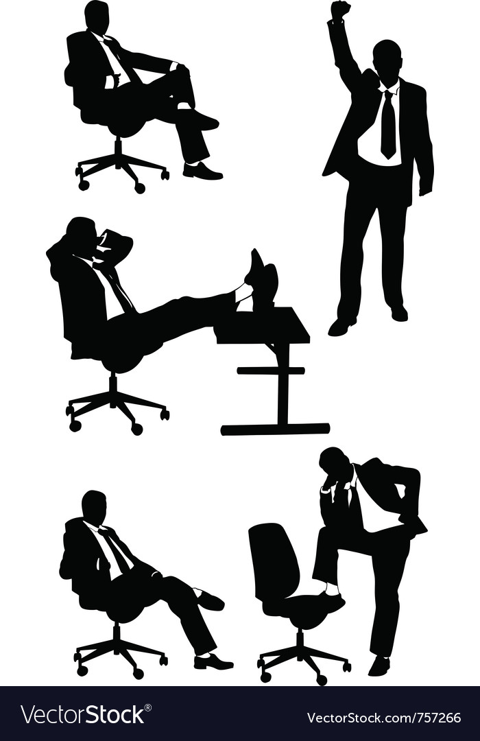 Silhouettes of business men posing vector | Price: 1 Credit (USD $1)