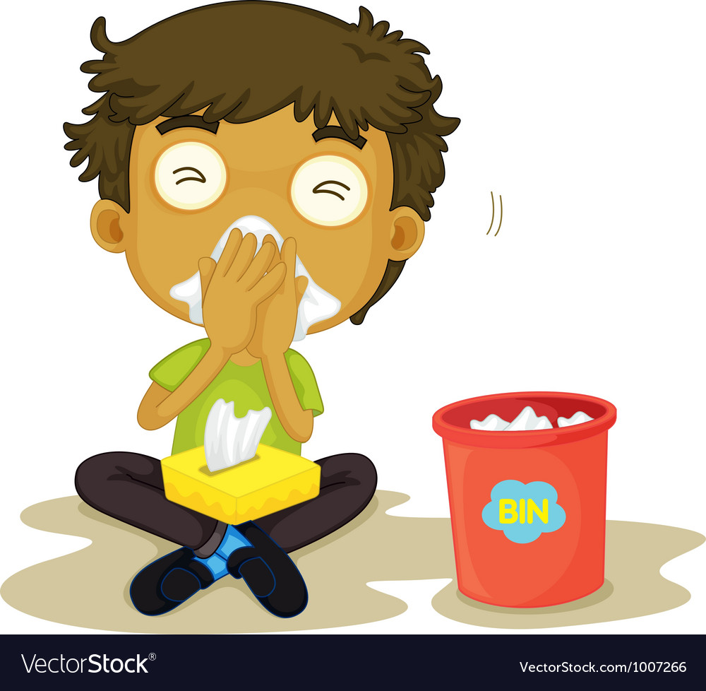 Sneezing boy vector | Price: 3 Credit (USD $3)