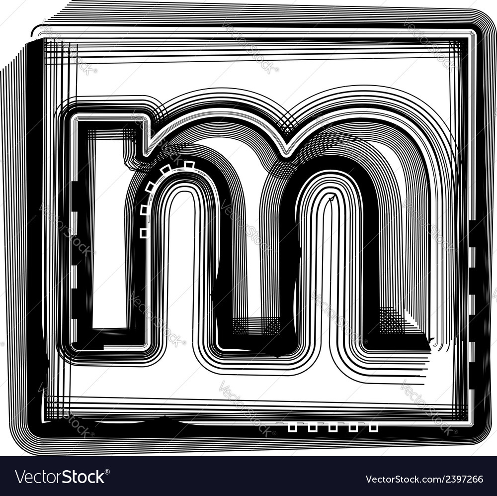 Striped font letter m vector | Price: 1 Credit (USD $1)