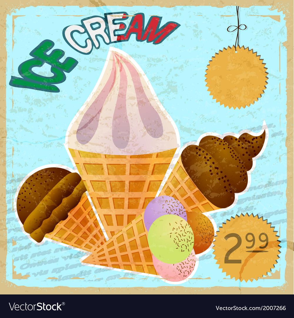 Vintage card with a picture of ice cream vector | Price: 1 Credit (USD $1)