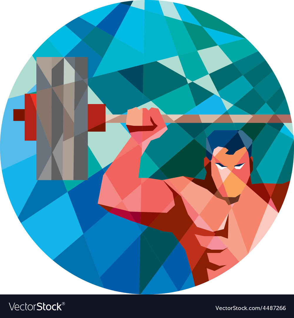 Weightlifter snatch grab lifting barbell low vector