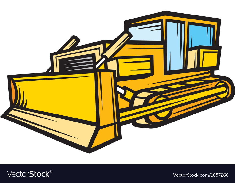 Yellow caterpillar building bulldozer vector | Price: 1 Credit (USD $1)