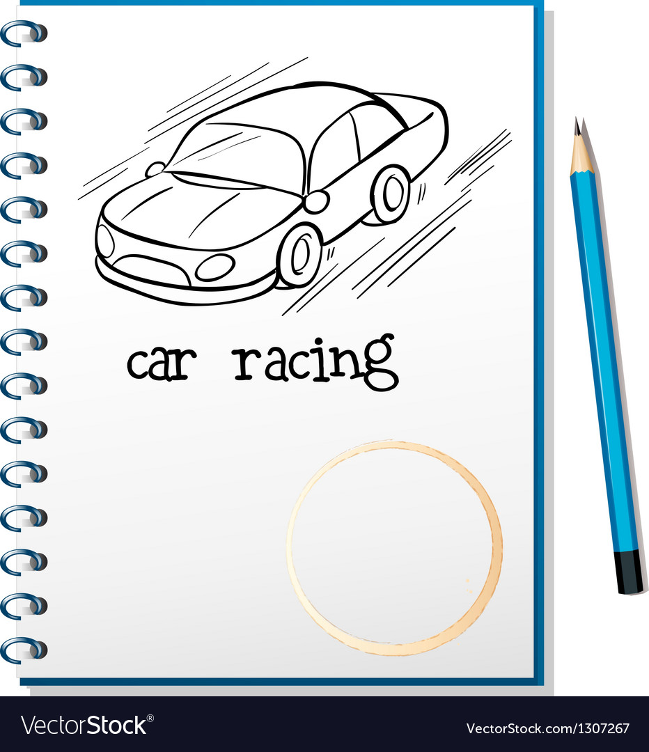 A notebook with a drawing of a car racing vector | Price: 1 Credit (USD $1)