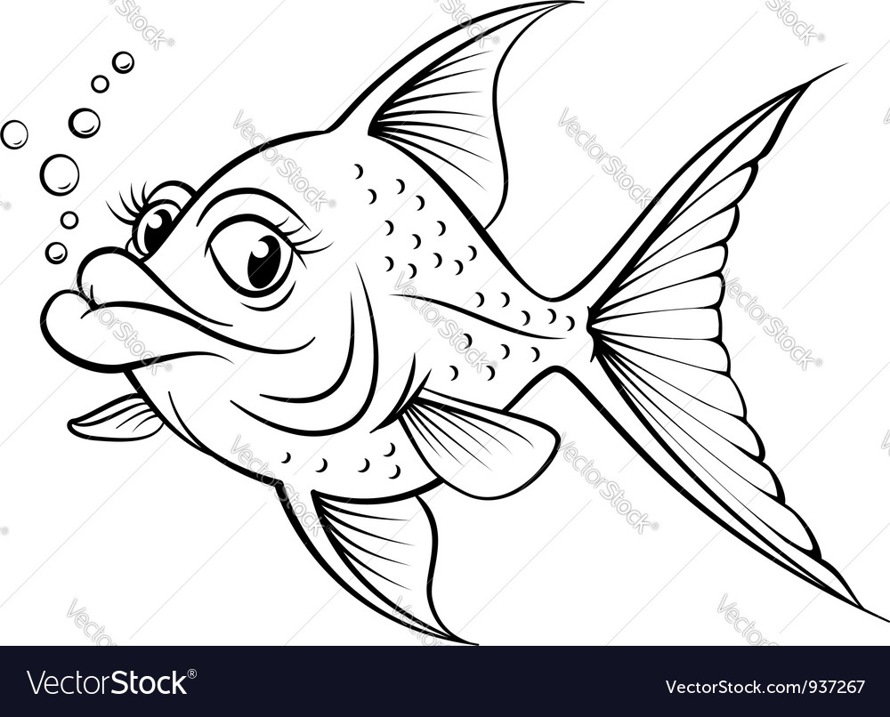 Cartoon drawing fish vector | Price: 1 Credit (USD $1)