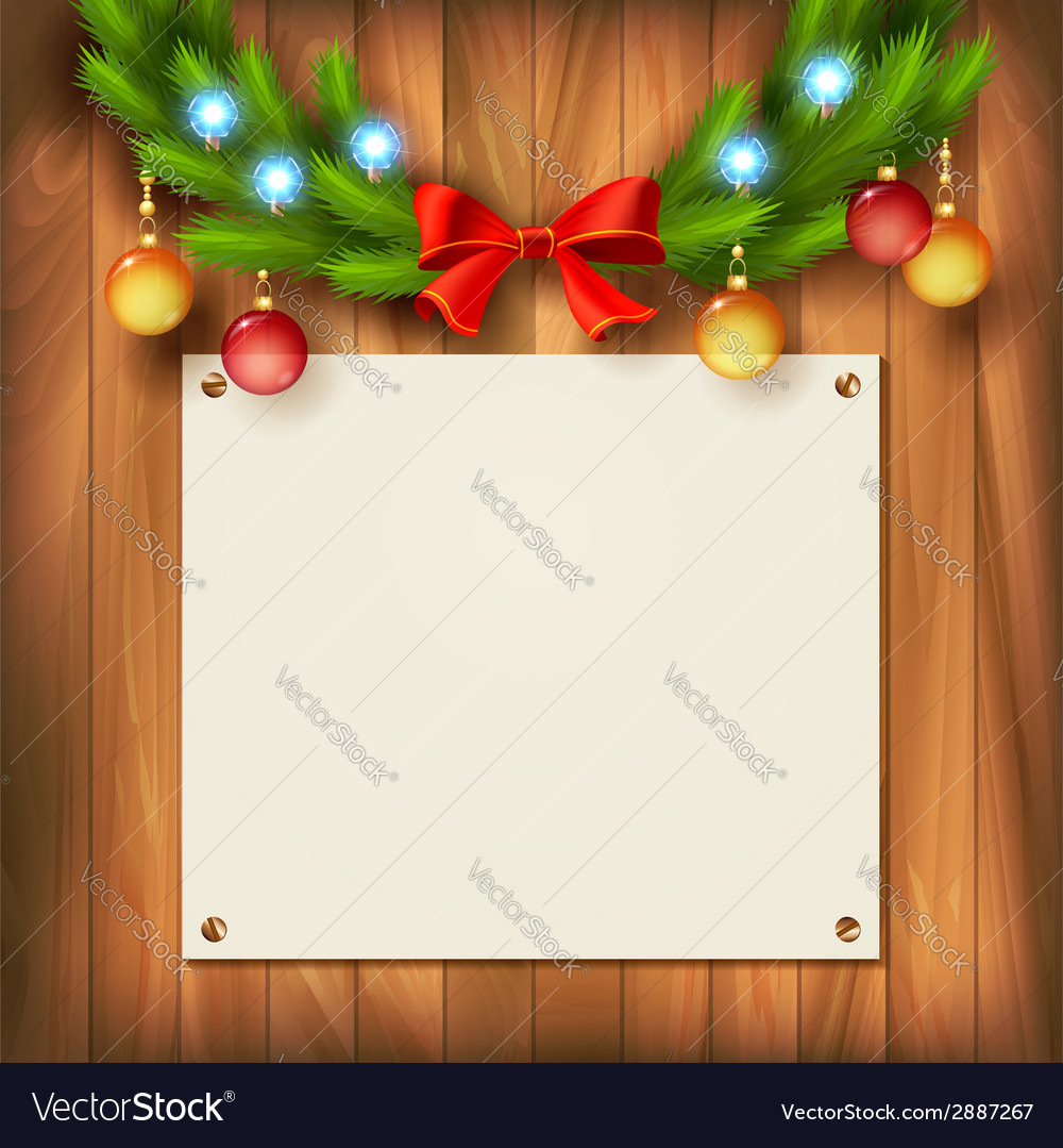 Christmas garland on wooden wall vector   Price: 1 Credit (USD $1)