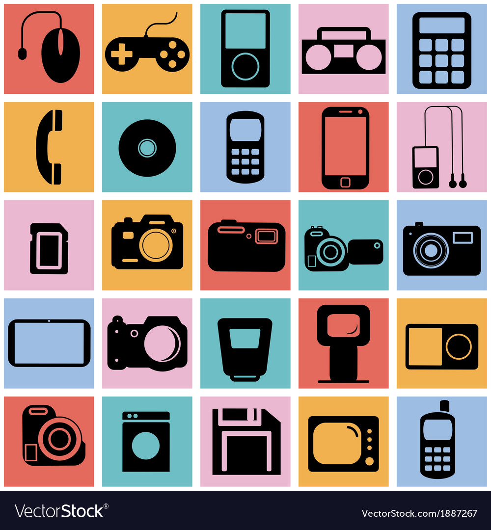 Collection flat icons with long shadow multimedia vector | Price: 1 Credit (USD $1)