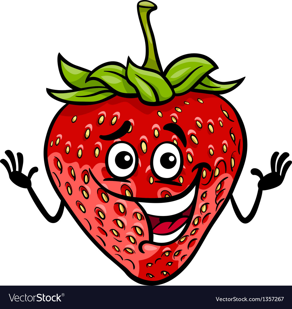 Funny strawberry fruit cartoon vector | Price: 1 Credit (USD $1)