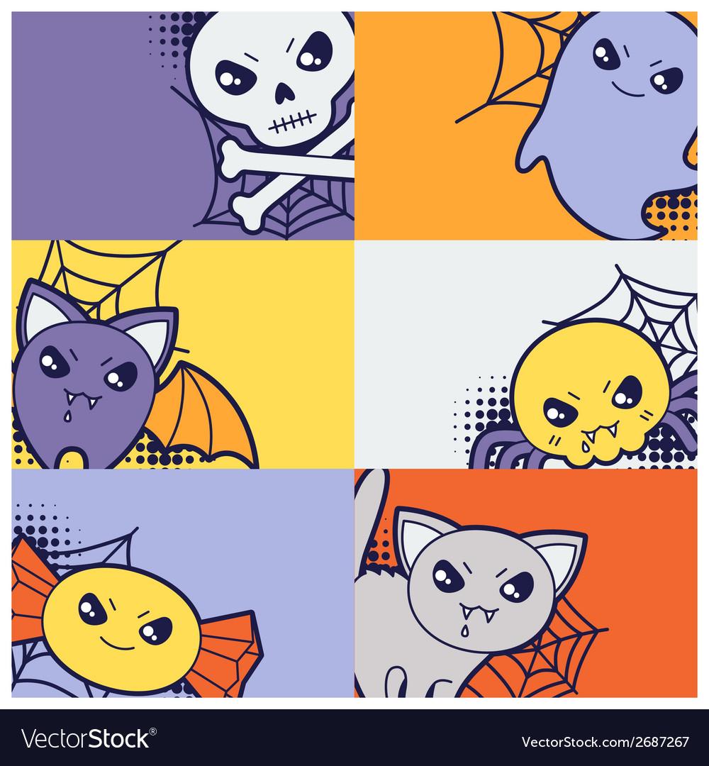 Halloween kawaii greeting cards with cute doodles vector | Price: 1 Credit (USD $1)