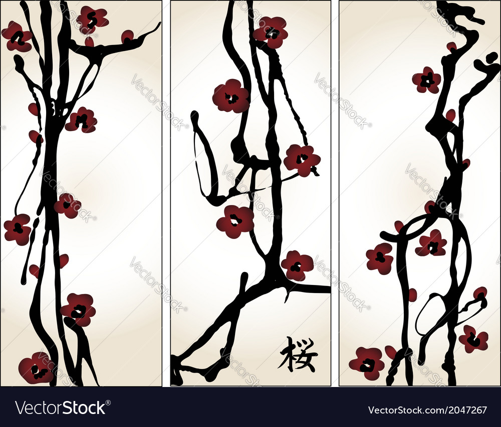 Set of cherry blossom banners vector | Price: 1 Credit (USD $1)