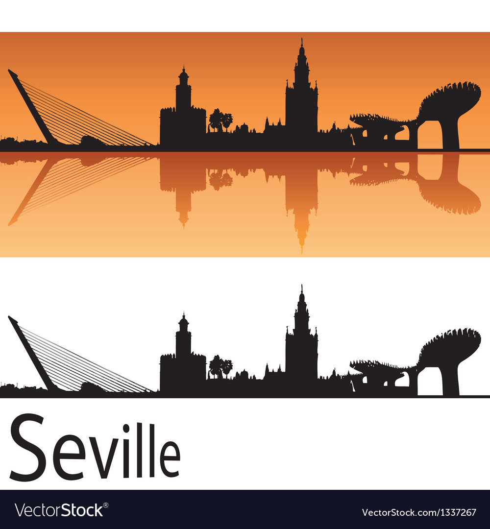 Seville skyline in orange background vector | Price: 1 Credit (USD $1)