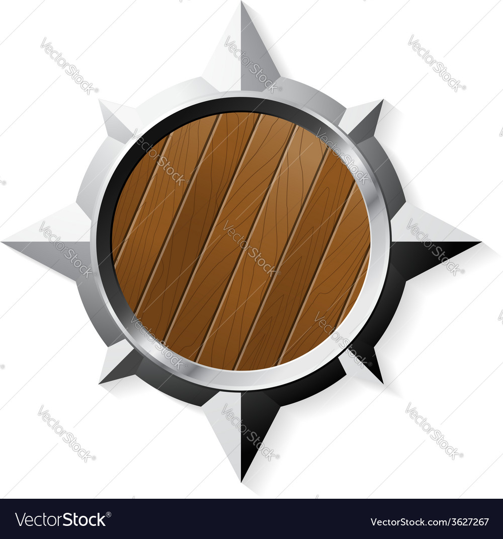 Shield from steel and wood in star shape isolated vector | Price: 1 Credit (USD $1)
