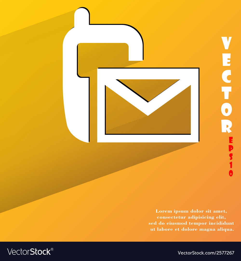 Sms flat modern web button with long shadow and vector | Price: 1 Credit (USD $1)