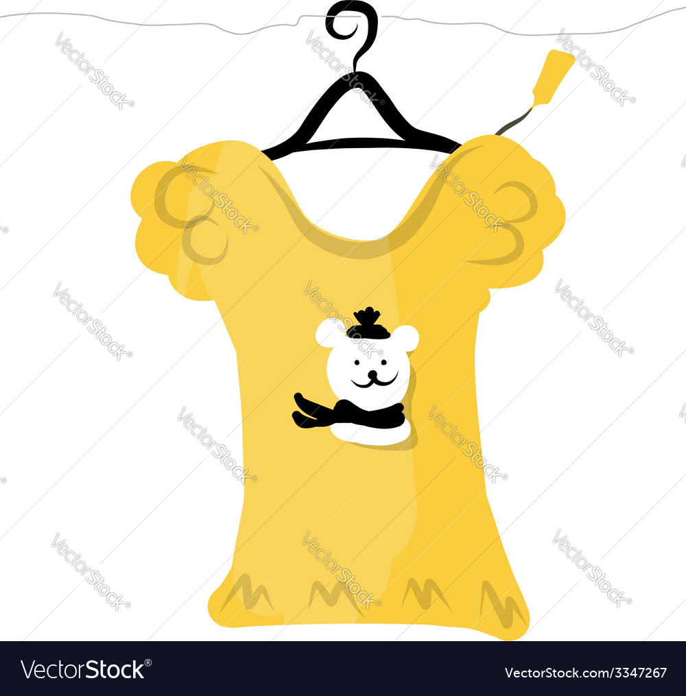 Top on hangers with funny bear design vector | Price: 1 Credit (USD $1)