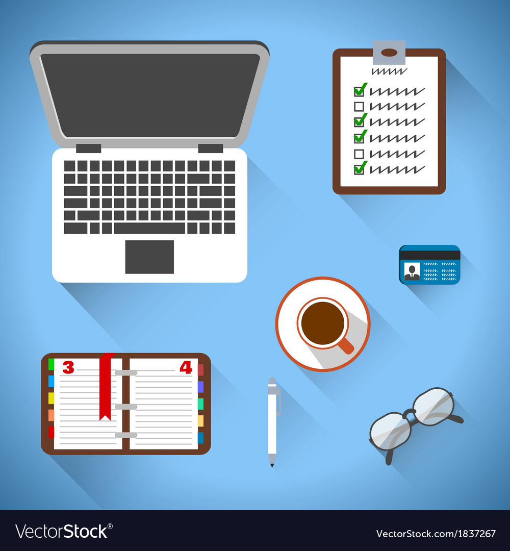 Top view on business workplace vector | Price: 1 Credit (USD $1)
