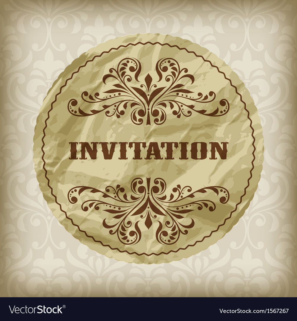 Vintage invitation card vector | Price: 1 Credit (USD $1)