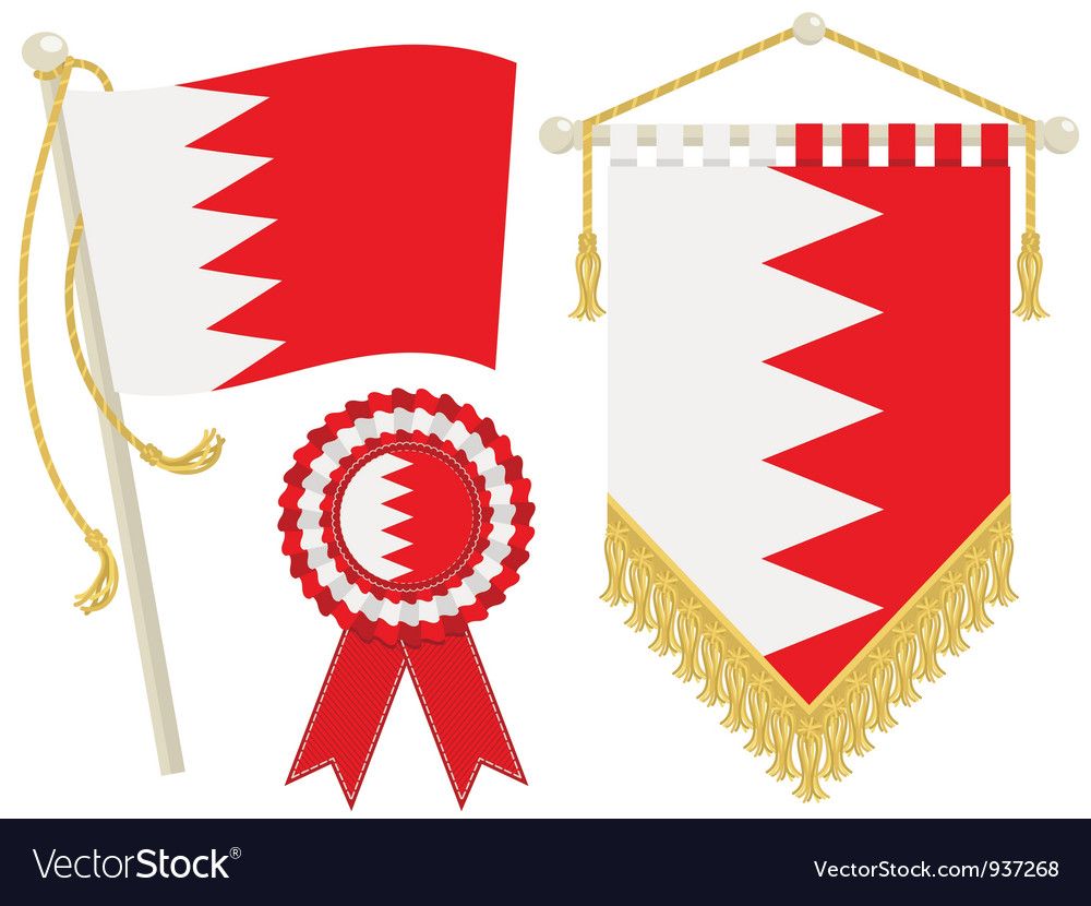 Bahrain flags vector | Price: 1 Credit (USD $1)