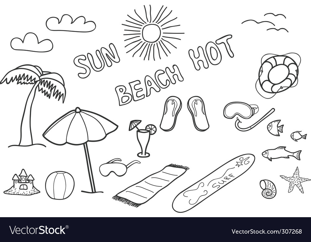 Beach doodles vector | Price: 1 Credit (USD $1)