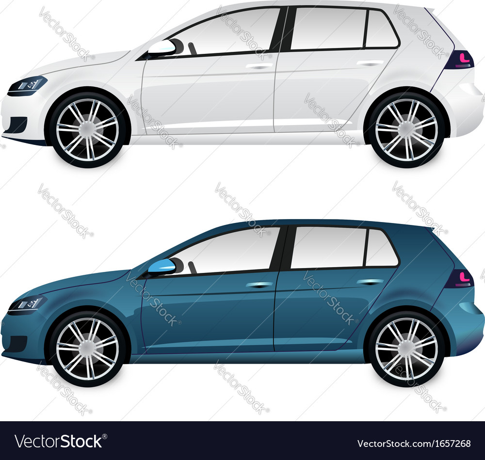 Car blue and white vector | Price: 1 Credit (USD $1)