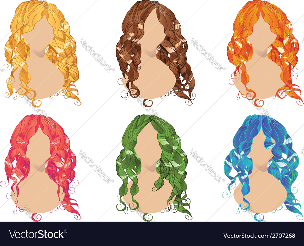Curly hair styles2 vector | Price: 1 Credit (USD $1)