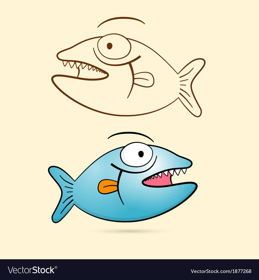 Fish with teeth blue fish and brown outlined vector | Price: 1 Credit (USD $1)