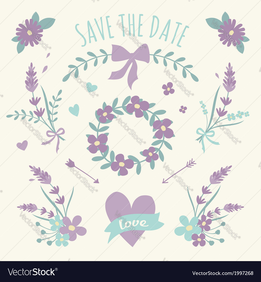 Floral design wedding engagement elements vector | Price: 1 Credit (USD $1)
