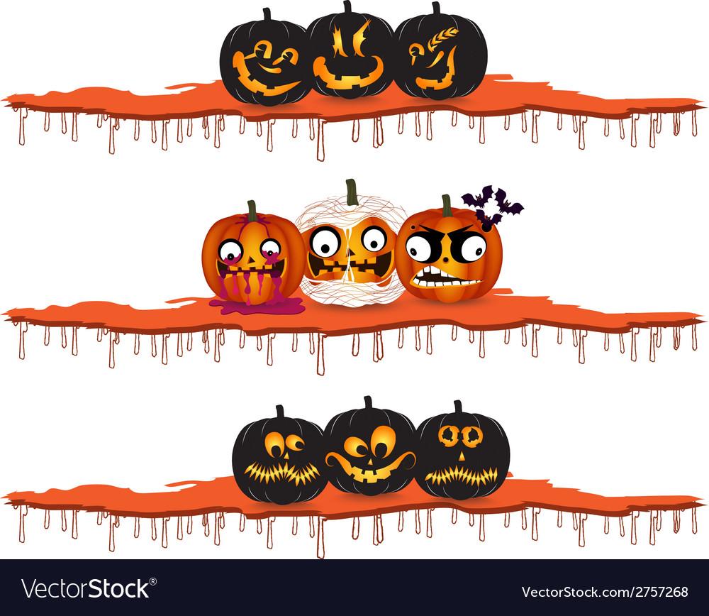 Halloween pumpkins design elements vector | Price: 1 Credit (USD $1)