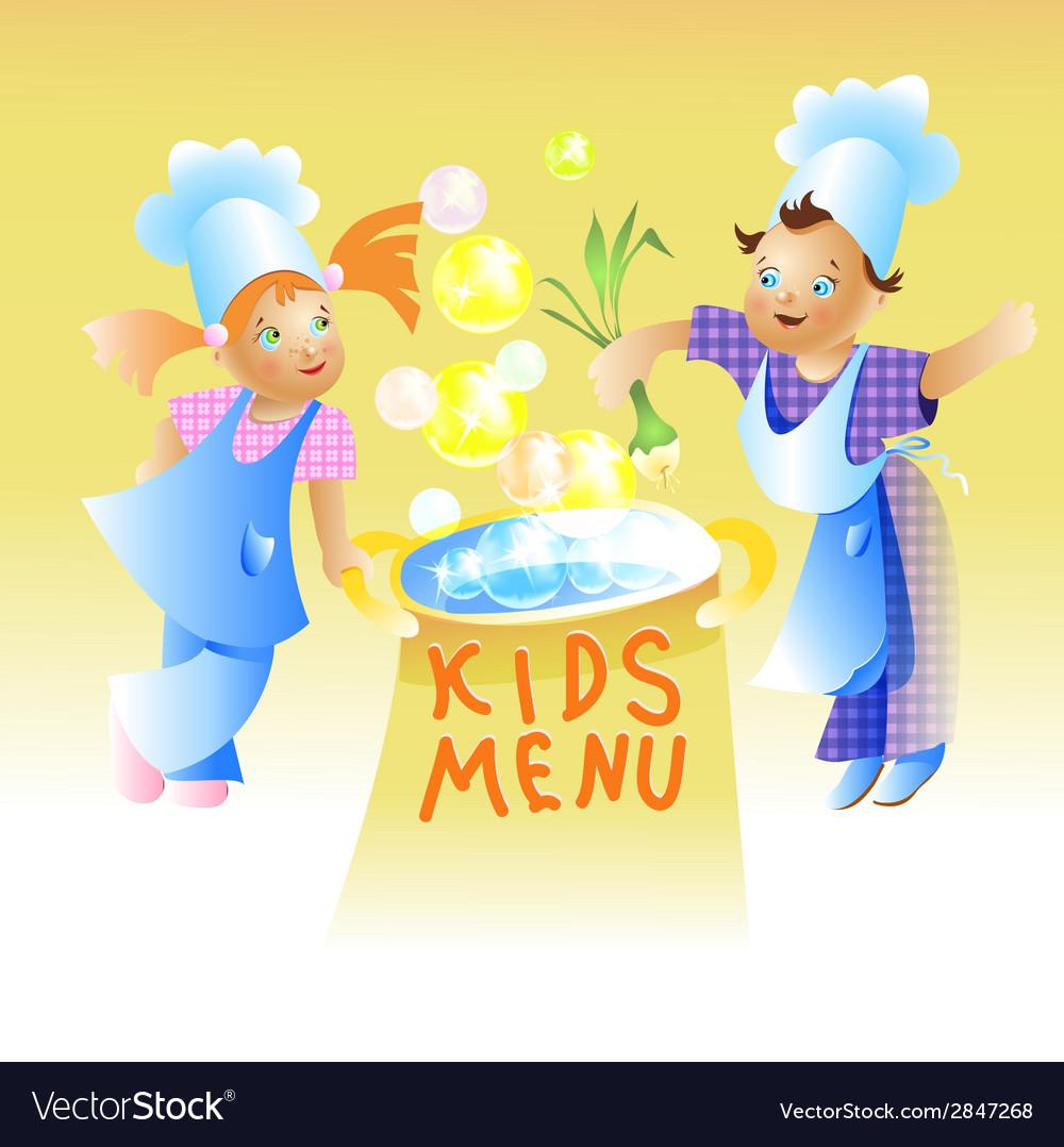 Kids menu card design child cartoon vector | Price: 1 Credit (USD $1)
