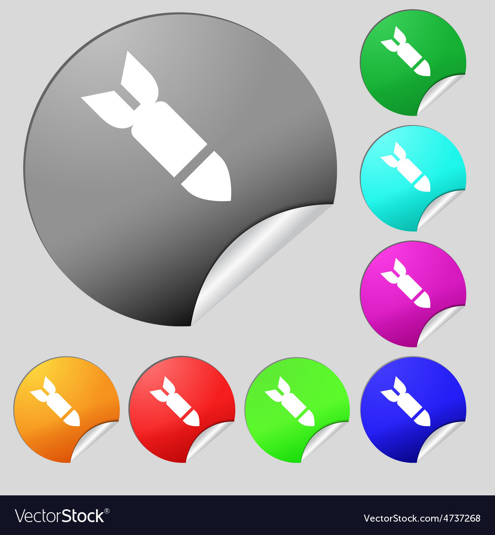 Missilerocket weapon icon sign set of eight vector | Price: 1 Credit (USD $1)