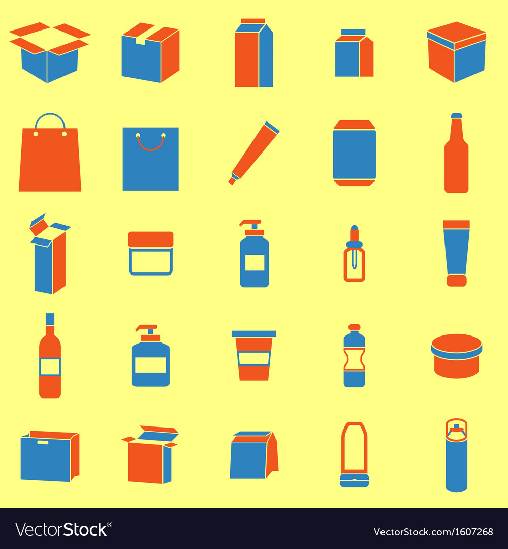 Packaging color icons on yellow background vector | Price: 1 Credit (USD $1)