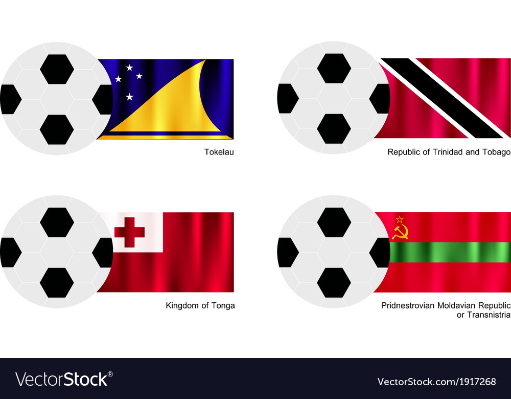 Soccer ball of tokelau trinidad and tobago tonga vector | Price: 1 Credit (USD $1)