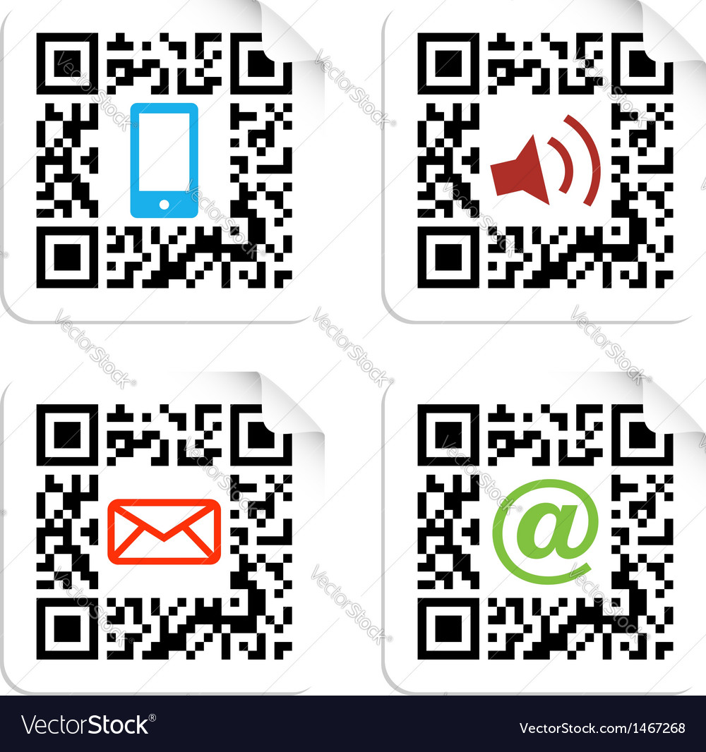 Social media icons set with qr code sign label vector | Price: 1 Credit (USD $1)