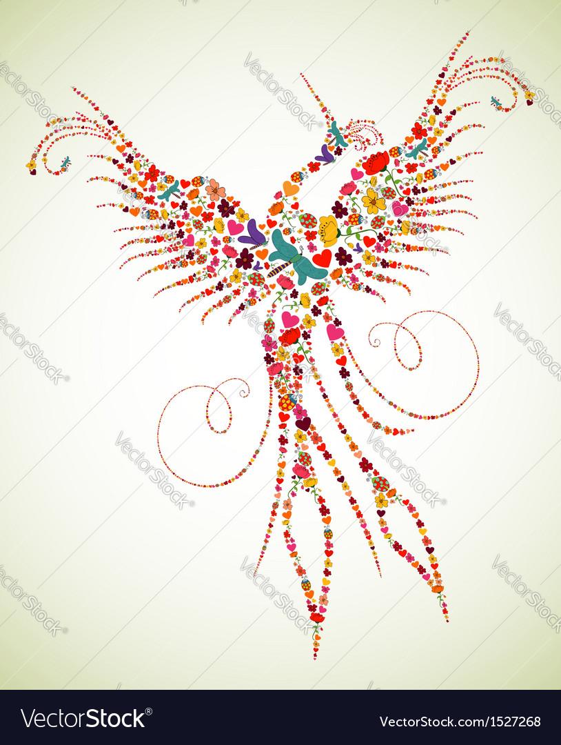 Spring pheonix bird texture vector | Price: 1 Credit (USD $1)