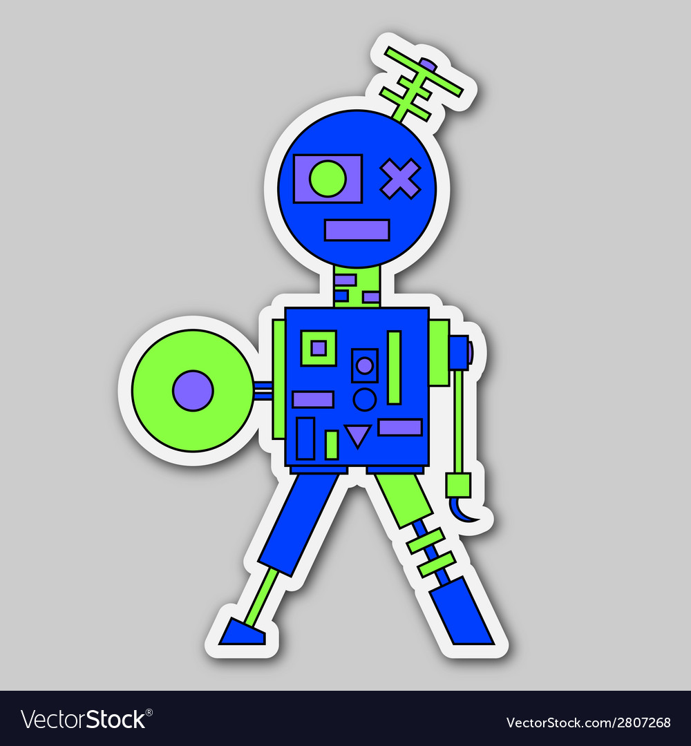 Sticker - colored cartoon robot vector | Price: 1 Credit (USD $1)