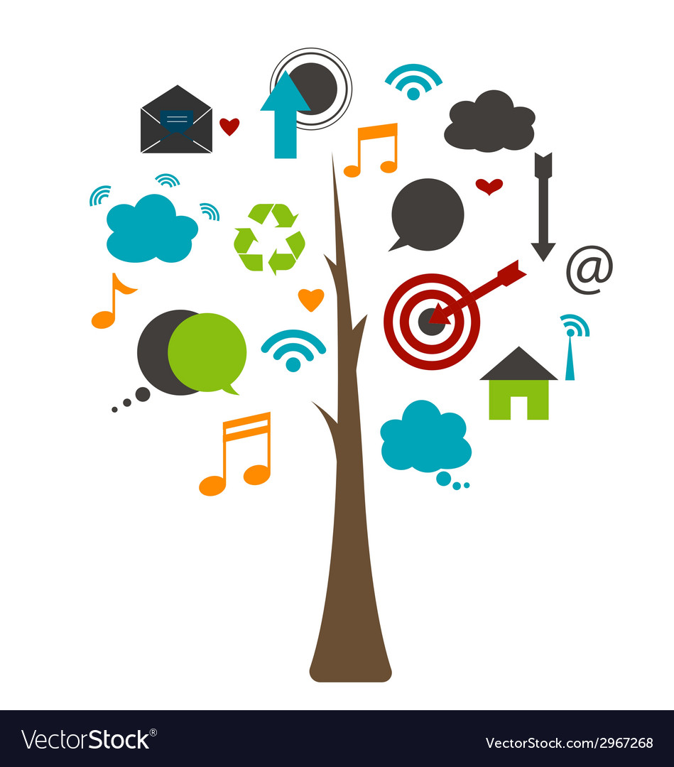 Tree with cloud of application vector | Price: 1 Credit (USD $1)