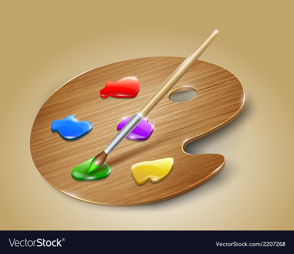 Wooden art palette with paints and brush vector | Price: 1 Credit (USD $1)