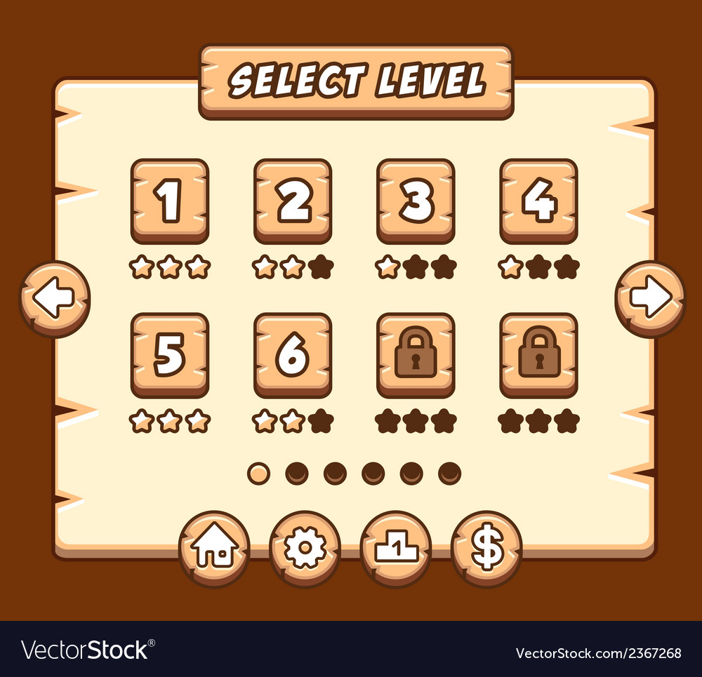 Wooden level selection panel for game vector | Price: 1 Credit (USD $1)