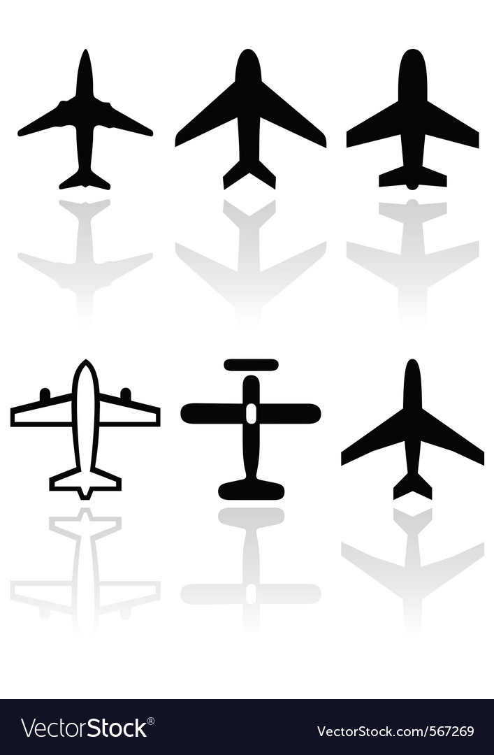 Airplane symbol set vector | Price: 1 Credit (USD $1)