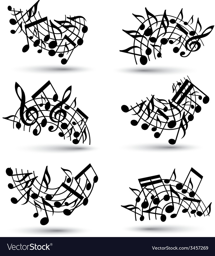 Black jolly staves with musical notes on white vector | Price: 1 Credit (USD $1)
