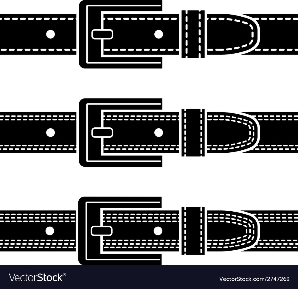 Buckle quilted belt black symbols vector | Price: 1 Credit (USD $1)