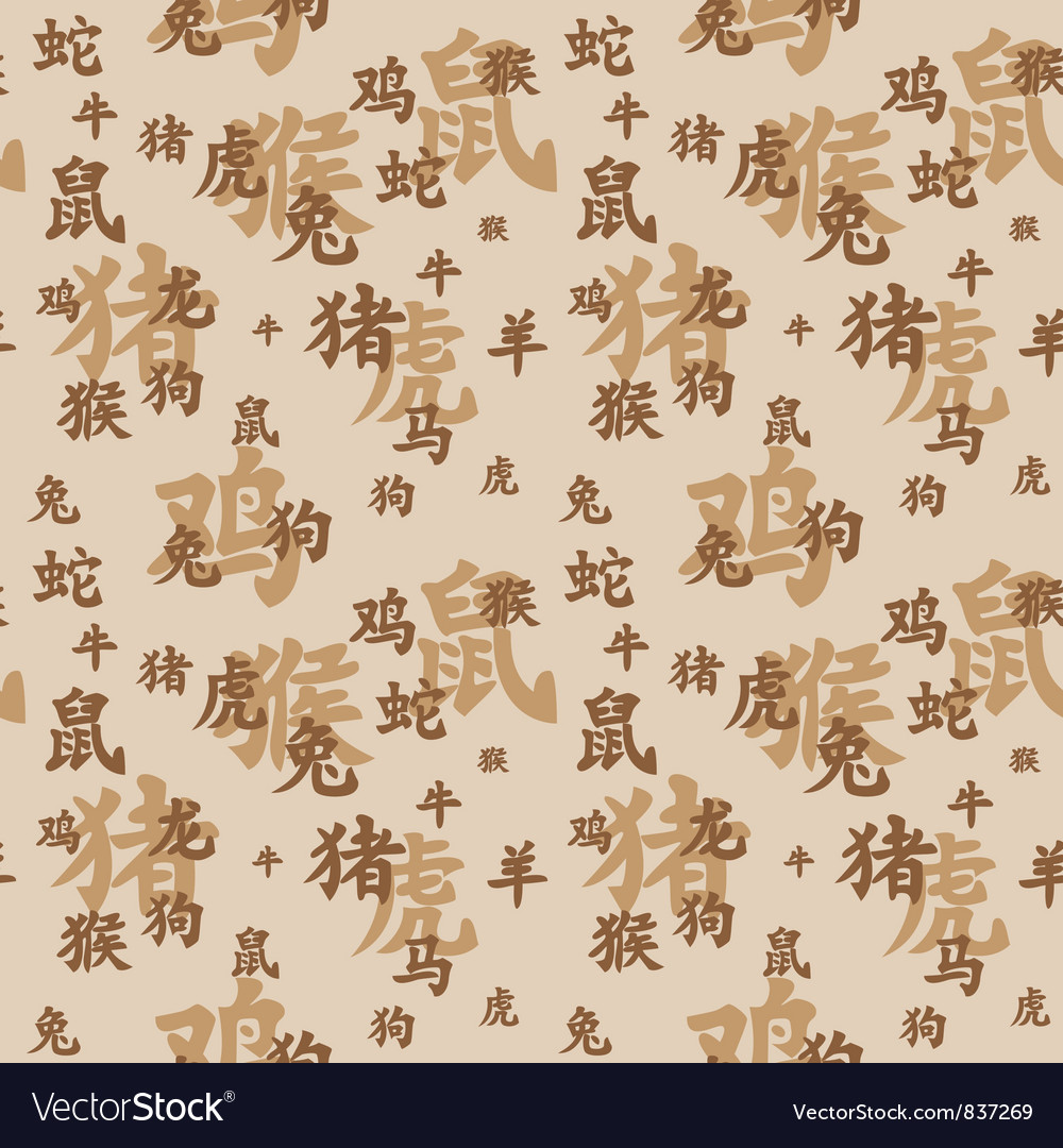 Chinese zodiac seamless vector | Price: 1 Credit (USD $1)
