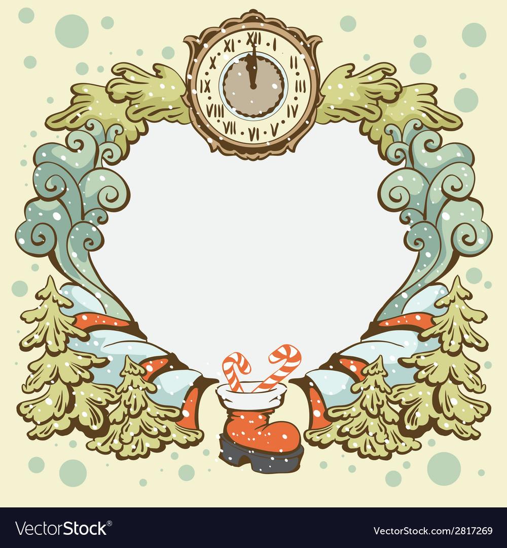 Christmas wreath retro card template vector   Price: 1 Credit (USD $1)