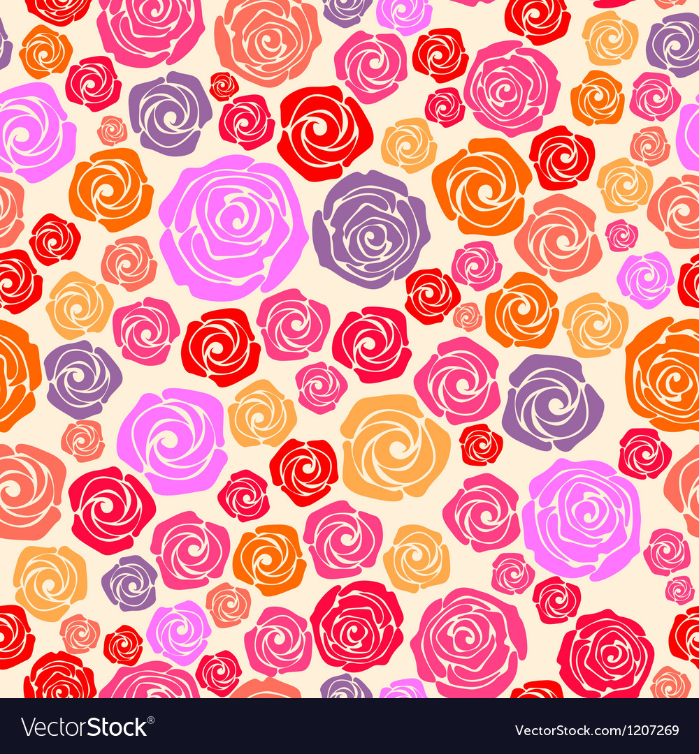 Colorful rose seamless pattern vector | Price: 1 Credit (USD $1)