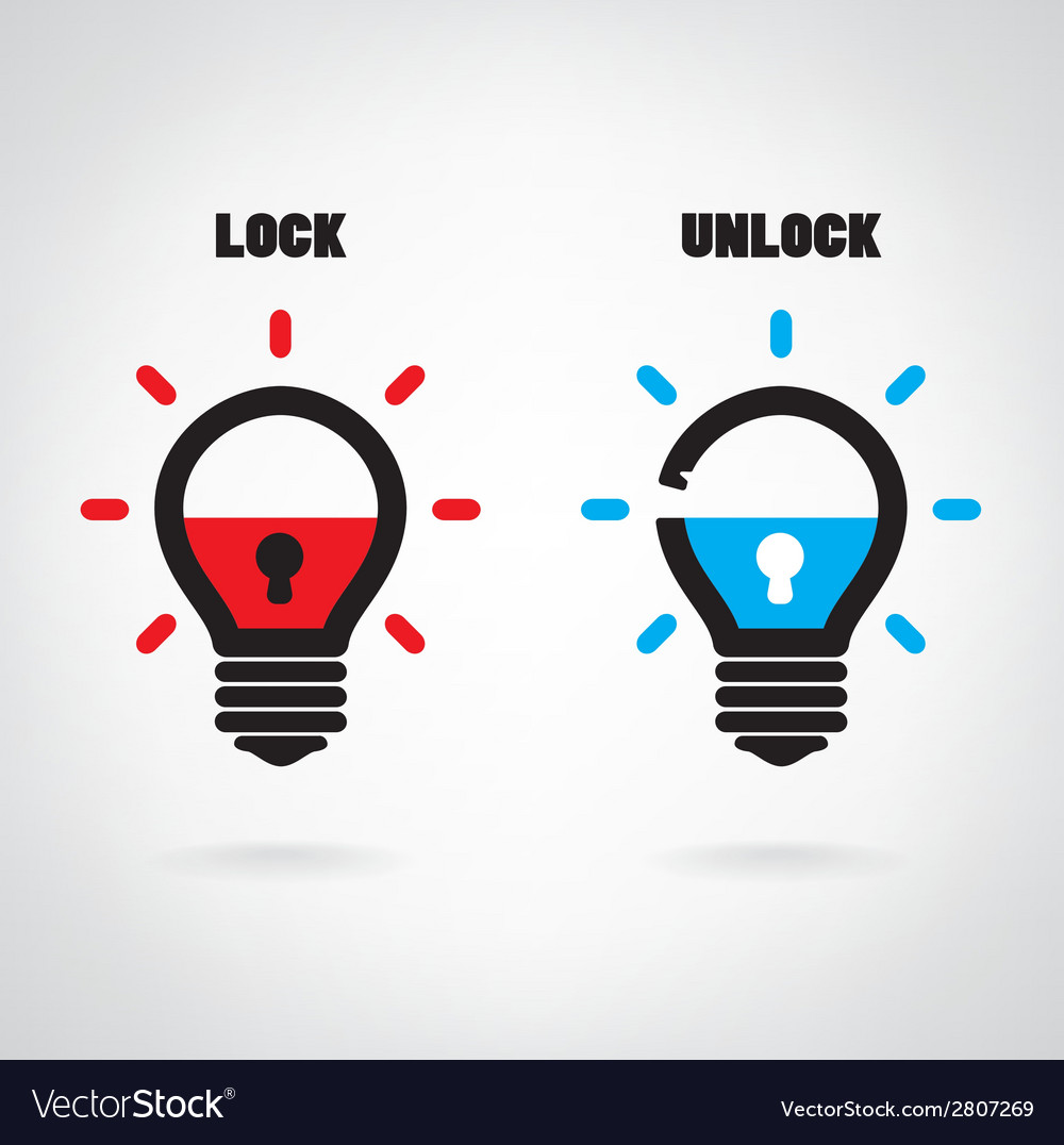 Creative light bulb idea concept with padlock sign vector | Price: 1 Credit (USD $1)