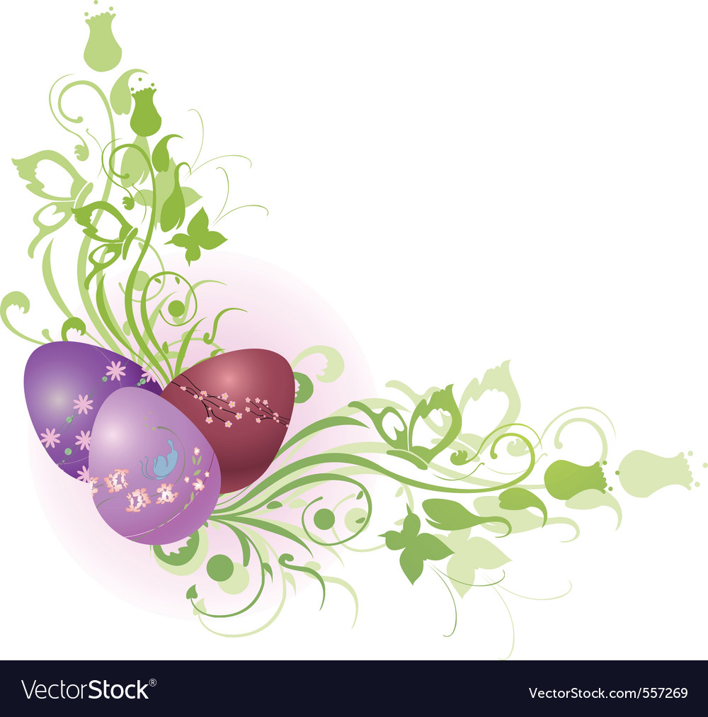 Floral easter frame vector | Price: 1 Credit (USD $1)