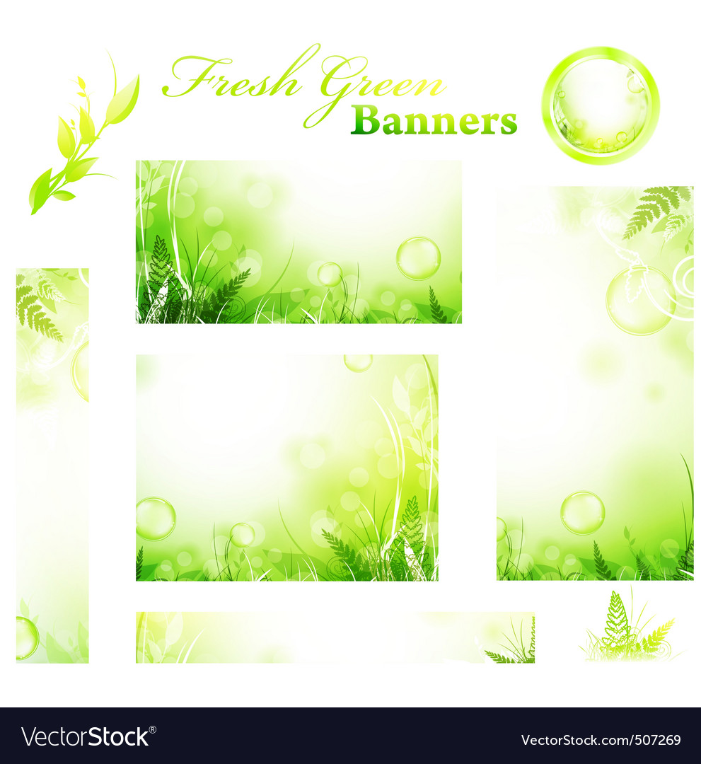 Green banners vector | Price: 1 Credit (USD $1)