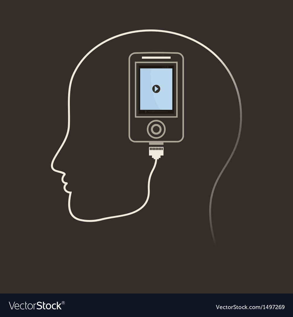 Phone in a brain vector | Price: 1 Credit (USD $1)