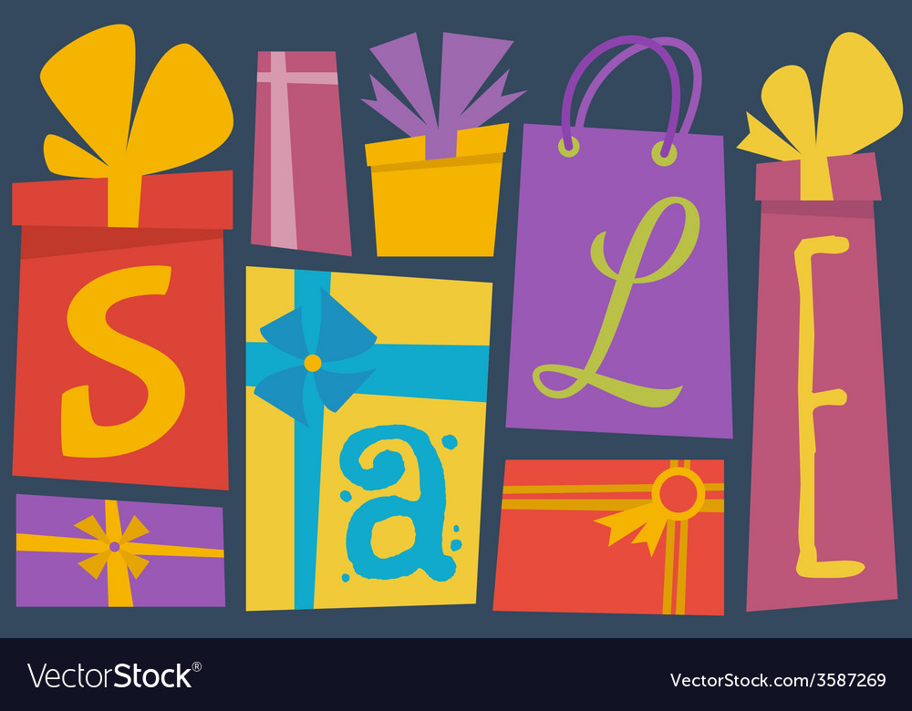 Sale typography with gift boxes vector | Price: 1 Credit (USD $1)
