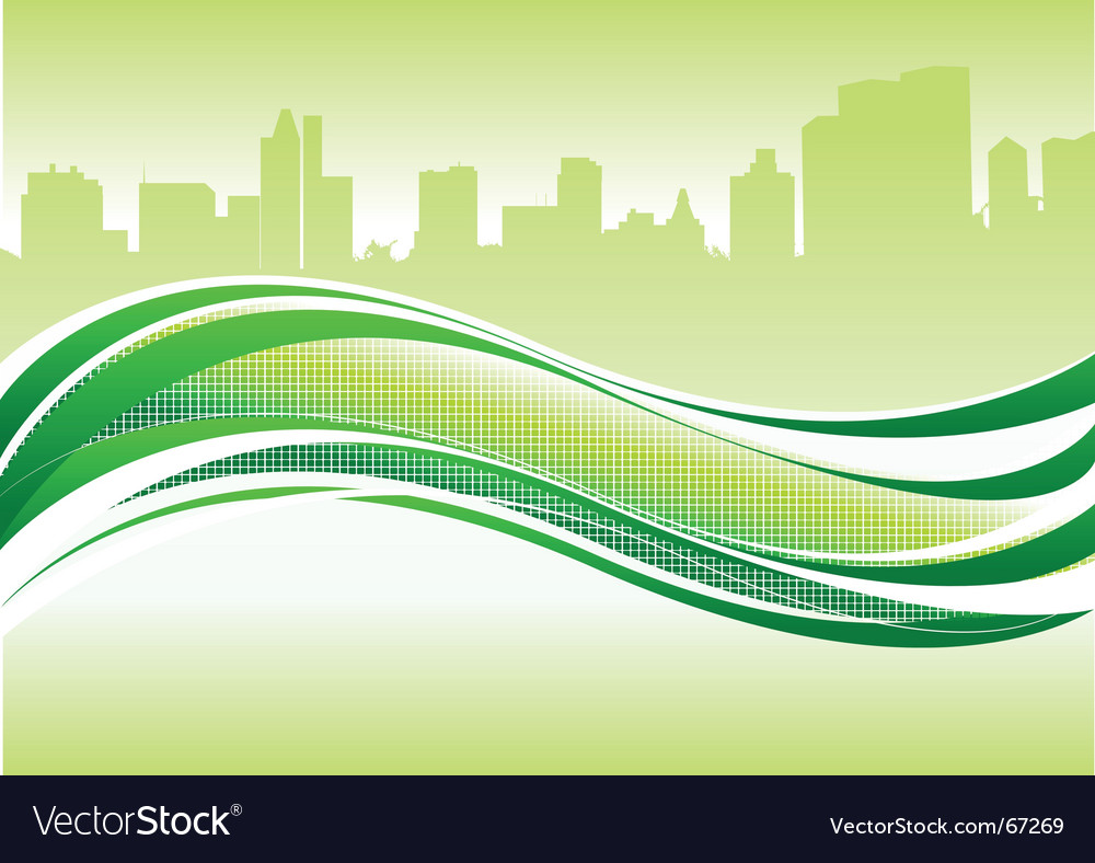 Wave and city vector | Price: 1 Credit (USD $1)